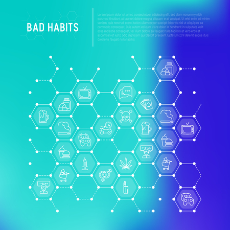 Bad habits concept in honeycombs with thin line icons: abuse, alcoholism, cigarette, marijuana, drugs, fast food, poker, promiscuity, tv, video games. Modern vector illustration.