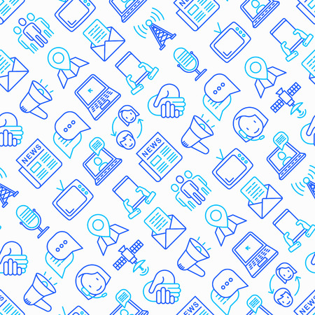 Communication seamless pattern with thin line icons: e-mail, newspaper, letter, chat, tv, support, video call, microphone. Modern vector illustration. Illustration