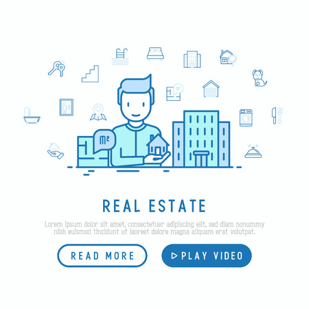 Real estate concept: realtor showing apartment house and thin line icons:  bedroom, keys, elevator, swimming pool, bathroom, facilities. Modern vector illustration, web page template.