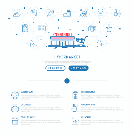 Hypermarket concept with thin line icons: apparel, sport equipment, electronics, perfumery, cosmetics, toys, food, appliances. Modern vector illustration, web page template. 일러스트