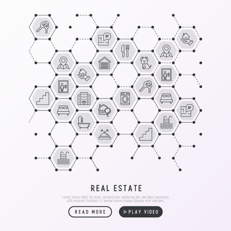Real estate concept in honeycombs with thin line icons: apartment house, bedroom, keys, elevator, swimming pool, bathroom, facilities. Modern vector illustration for web page, print media.