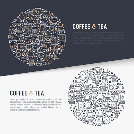 Coffee and tea concept in circle with thin line icons: take away paper cups, cezve, coffee machine, teapot, cappuccino, cup, tea with lemon, grinder. Modern vector illustration, web page template.