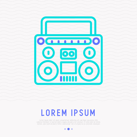 Retro cassette player thin line icon. Modern vector iilustration of music equipment.