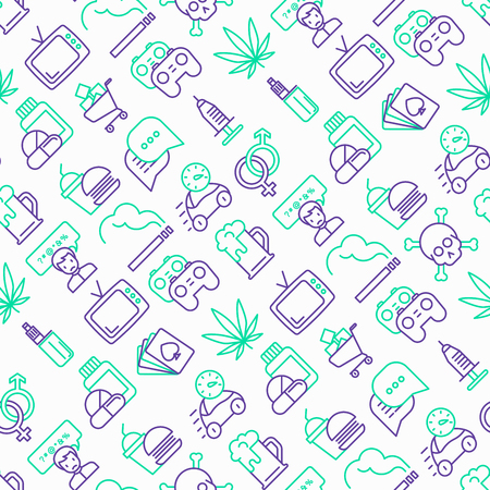 Bad habits seamless pattern with thin line icons: abuse, alcoholism, cigarette, marijuana, drugs, fast food, poker, promiscuity, tv, video games. Modern vector iilustration. Illustration