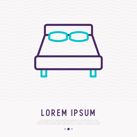 Bed thin line icon. Modern vector illustration of furniture. 向量圖像