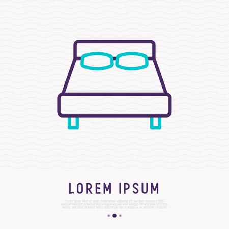 Bed thin line icon. Modern vector illustration of furniture. Illustration