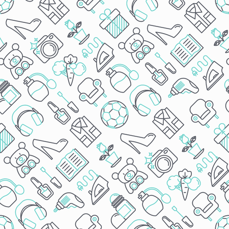 Hypermarket seamless pattern with thin line icons: apparel, sport equipment, electronics, perfumery, cosmetics, toys, food, appliances. Modern vector illustration for background.