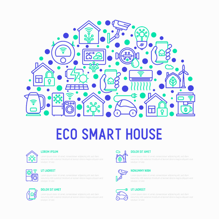 Eco smart house concept in half circle with thin line icons: solar battery, security, light settings, appliances, artificial intelligence, mobile app control. Energy saving vector illustration.