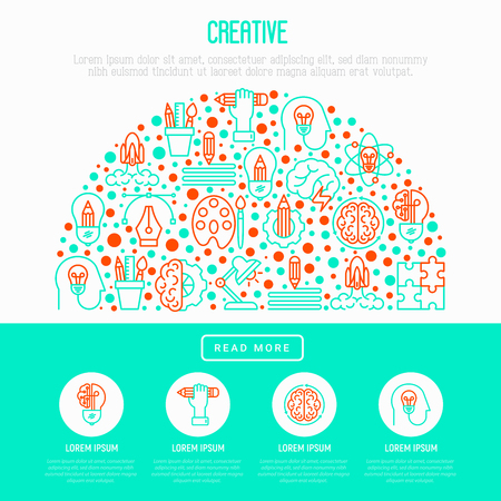 Creative concept in half circle with thin line icons: generation of idea, start up, brief, brainstorming, puzzle, color palette, creative vision, genius, solving problem. Modern vector illustration for web page, print media.