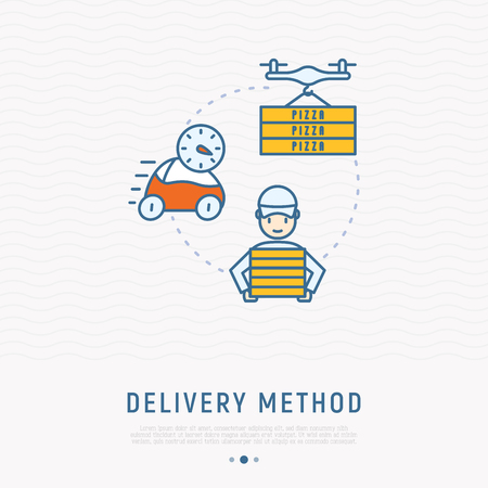 Delivery methods of pizza: electrocar, quadcopter with boxes, courier thin line icons. Modern vector illustration. Ilustracja
