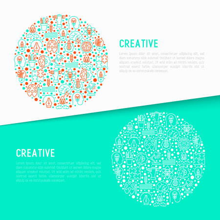 Creative concept in circle with thin line icons: generation of idea, start up, brief, brainstorming, puzzle, color palette, creative vision, genius, solving problem. Modern vector illustration. Illustration