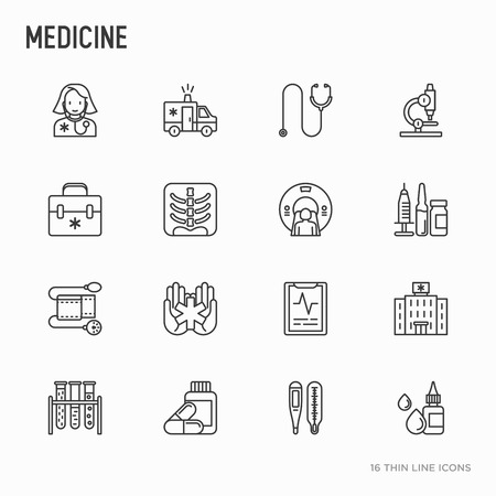 Medicine thin line icons set: doctor, ambulance, stethoscope, microscope, thermometer, hospital, z-ray image, MRI scanner, tonometer. Modern vector illustration.