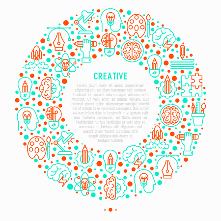 Creative concept in circle with thin line icons: generation of idea, start up, brief, brainstorming, puzzle, color palette, creative vision. Modern vector illustration for web page, print media. Illustration