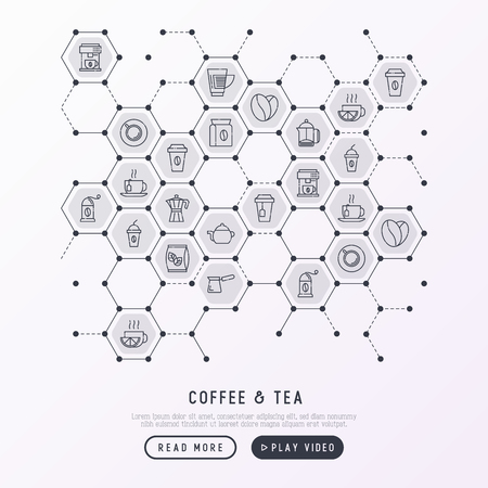 Coffee and tea concept in honeycombs with thin line icons: take away paper cups, cezve, coffee machine, teapot, cappuccino, cup, tea with lemon, grinder. Modern vector illustration.