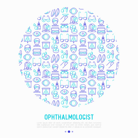 Ophthalmologist concept in circle with thin line icons: glasses, eyeball, vision exam, lenses, eyedropper, spectacle case. Modern vector illustration for banner, print media, web page. Vectores