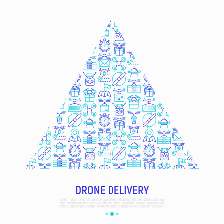 Drone delivery concept in triangle with thin line icons: quadcopter, flying drone with package, remote control, front and side view. Modern vector illustration of innovative transport for print media. Illustration