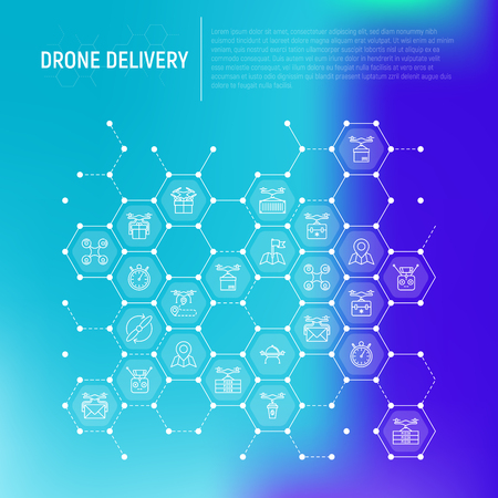 Drone delivery concept in honeycombs with thin line icons: quadcopter, flying drone with package, remote control, front and side view. Modern vector illustration of innovative transport.