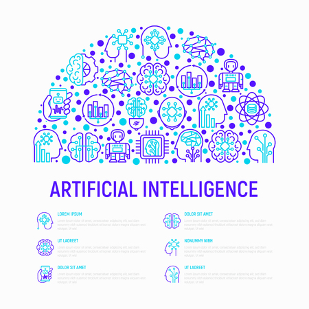 Artificial intelligence concept in half circle with thin line icons: robot, brain, machine learning, marketing analytics, cpu, chip. Modern vector illustration for web page, print media.