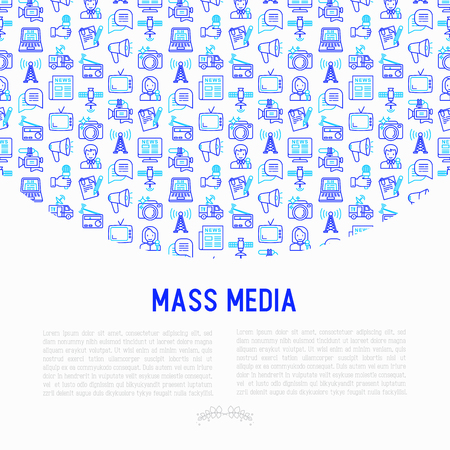 Mass media concept with thin line icons: journalist, newspaper, article, blog, report, radio, internet, interview, video, photo. Modern vector illustration for banner, print media, web page. Ilustracja