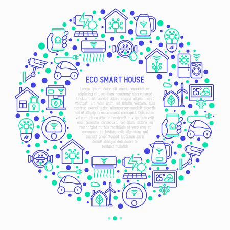 Eco smart house concept in circle with thin line icons: solar battery, security, light settings, appliances, artificial intelligence, mobile app control. Energy saving vector illustration.