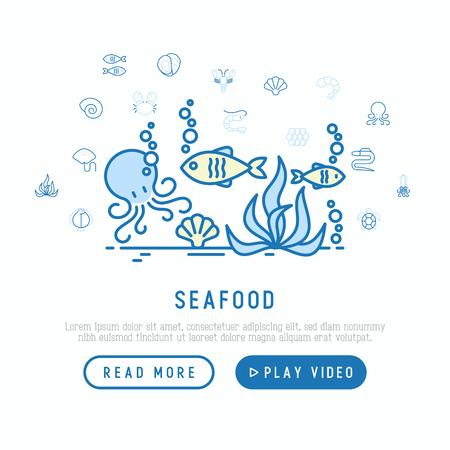 Concept de fruits de mer avec des icônes de fine ligne: homard, poisson, crevette, poulpe, huître, anguille, algue, crabe, rampe, tortue. Illustration vectorielle moderne pour le menu du restaurant ou la page Web.