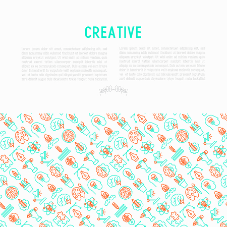Creative concept with thin line icons: generation of idea, start up, brief, brainstorming, puzzle, color palette, creative vision, genius, solving problem. Vector illustration for print media, banner. Ilustração