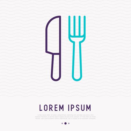 Icono de delgada línea de tenedor y cuchillo. Ilustración de vector moderno, símbolo de restaurante, área de comida. Ilustración de vector