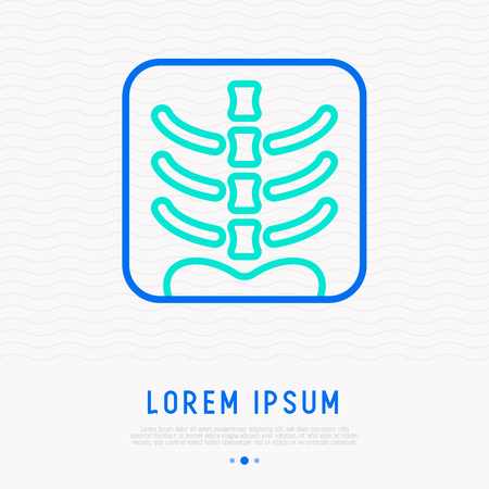 X-ray image of human spine thin line icon. Modern vector illustration. Çizim