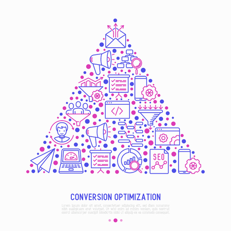Conversion optimization concept in triangle with thin line icons: marketing, customer management, SEO technology, website promotion, sales funnel, web traffic. Modern vector illustration.