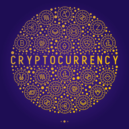 Cryptocurrency concept in circle with thin line icons: Bitcoin, Ethereum, Ripple, Litecoin, Dash, NEM, ubiq, IOTA, Monero. Modern vector illustration for banner, web page, print media.