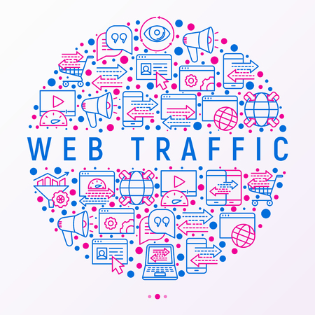 Web traffic concept in circle with thin line icons: SEO technology, data exchange, sync, click, mobile backup, traffic speed, sales growth. Modern vector illustration for print media, web page.
