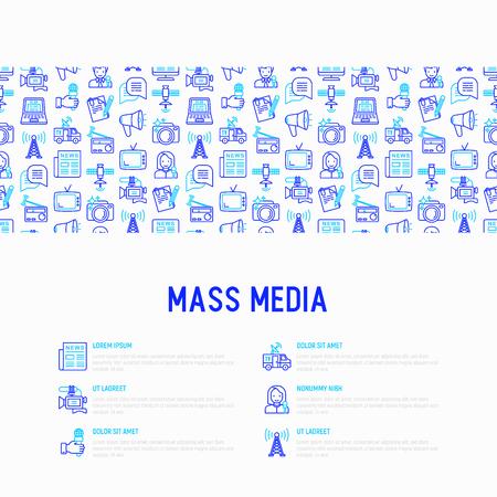 Concetto di mass media con icone di linea sottile: giornalista, giornale, articolo, blog, reportage, radio, internet, intervista, video, foto. Illustrazione vettoriale moderna per banner, supporti di stampa, pagina web.