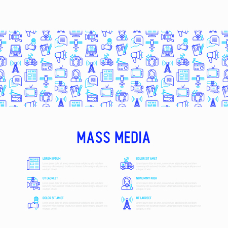 Mass media concept with thin line icons: journalist, newspaper, article, blog, report, radio, internet, interview, video, photo. Modern vector illustration for banner, print media, web page. Ilustração