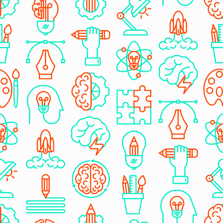 Creative seamless pattern with thin line icons: generation of idea, start up, brief, brainstorming, puzzle, color palette, creative vision, genius, solving problem. Modern vector illustration.