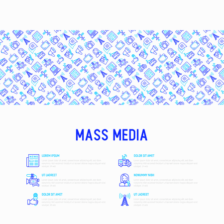 Mass media concept with thin line icons: journalist, newspaper, article, blog, report, radio, internet, interview, video, photo. Modern vector illustration for banner, print media, web page. Illustration