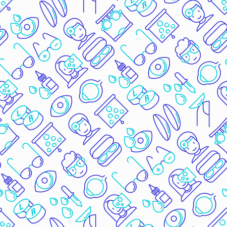 Ophthalmologist seamless pattern with thin line icons: glasses, eyeball, vision exam, lenses, eyedropper, spectacle case. Modern vector illustration.