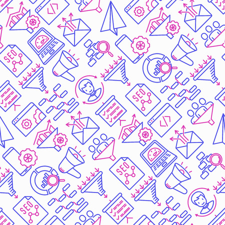 Conversion optimization seamless pattern with thin line icons: marketing, customer management, SEO technology, website promotion, visitors, sales funnel, web traffic. Modern vector illustration.