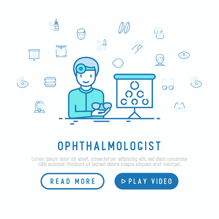 Ophthalmologist with glasses and board for vision exam concept. Modern vector illustration with thin line icons, web page template.