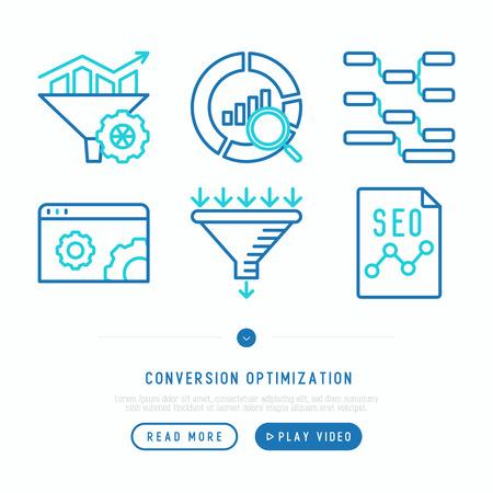 Set di icone di sottile linea di ottimizzazione delle conversioni: marketing, gestione dei clienti, tecnologia SEO, promozione del sito Web, visitatori, imbuto di vendita, traffico web. Illustrazione vettoriale moderno.