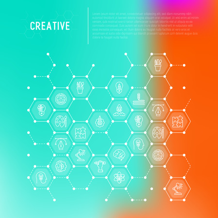 Creative concept in honeycombs with thin line icons: generation of idea, start up, brief, brainstorming, puzzle, color palette, creative vision. Modern vector illustration for web page, print media.