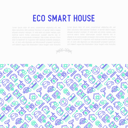 Eco smart house concept with thin line icons: solar battery, security, light settings, appliances, artificial intelligence, mobile app control. Energy saving and new technologies vector illustration.