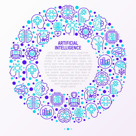 Artificial intelligence concept in circle with thin line icons: robot, brain, machine learning, marketing analytics, cpu, chip, voice assistant. Modern vector illustration for web page, print media.