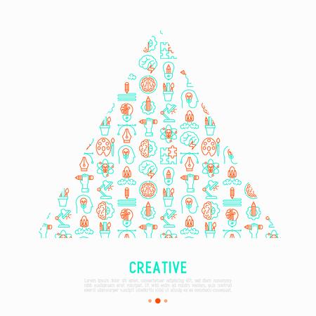 Concepto creativo en triángulo con iconos de líneas finas: generación de idea, puesta en marcha, breve, lluvia de ideas, rompecabezas, paleta de colores, visión creativa, genio. Ilustración de vector de página web, medios impresos.