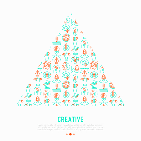 Creative concept in triangle with thin line icons: generation of idea, start up, brief, brainstorming, puzzle, color palette, creative vision, genius. Vector illustration for web page, print media.