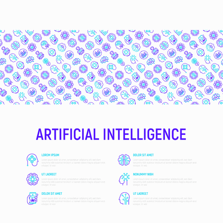 Artificial intelligence concept with thin line icons: robot, brain, machine learning, marketing analytics, cpu, chip, voice assistant. Modern vector illustration for banner, web page, print media.