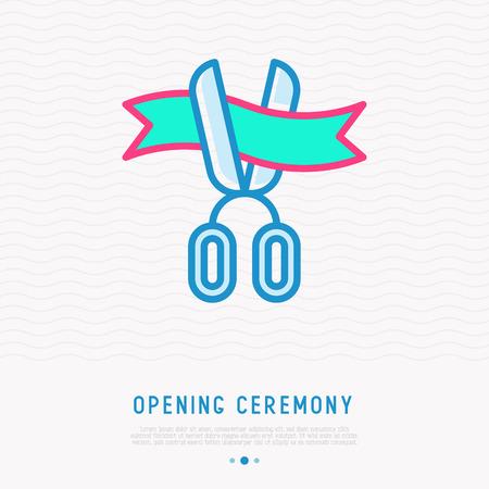 Opening ceremony symbol: scissors cutting ribbon thin line icon. Modern vector illustration. Illustration