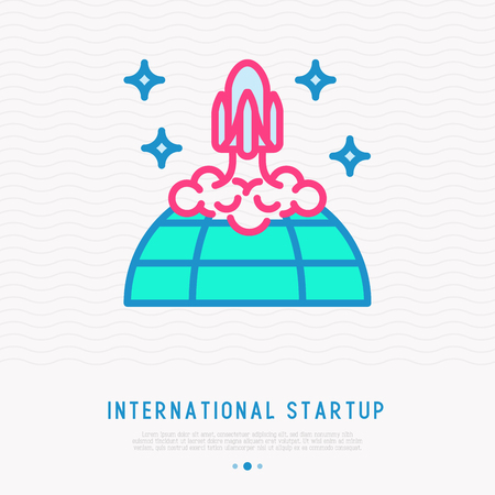 International start up thin line icon: rocket taking off from the planet. Modern vector illustration.