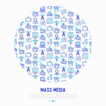 Concept de médias de masse en cercle avec des icônes de fine ligne: journaliste, journal, article, blog, rapport, radio, internet, interview, vidéo, photo. Illustration vectorielle moderne pour bannière, médias imprimés, page Web.