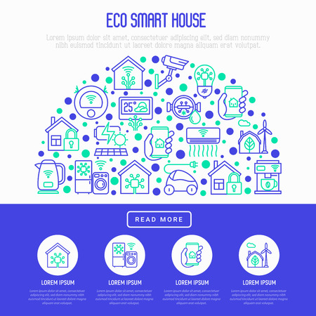 Eco smart house concept in half circle with thin line icons: solar battery, security, light settings, appliances, artificial intelligence, mobile app control. Energy saving vector illustration. 免版税图像 - 112047799
