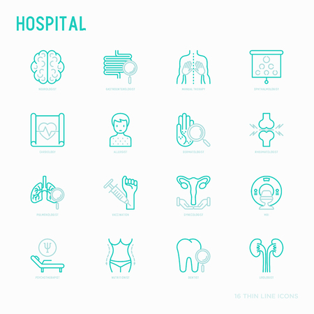 Hospital thin line icons for doctor's notation: neurologist, gastroenterologist, manual therapy, ophtalmologist, cardiology, allergist, dermatologist, dentist. Vector illustration for clinic.